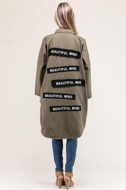 "LONG UTILITY JACKET WITH ""BEAUTIFUL MIND"" PATCHES"