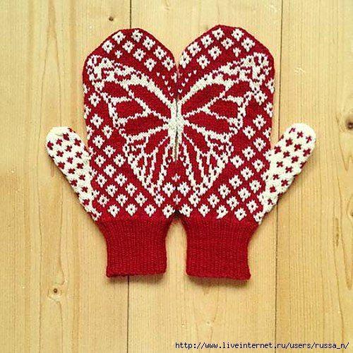 "варежки ""Butterfly Wish Mittens"" by Emily Bujold спицами. схема жаккарда. Обсуждение на LiveInternet - Российский Сервис Онлайн-Дневников"