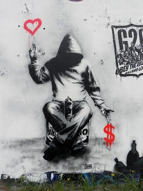 Banksy, British graffiti artist. Love his works, some very powerful creative messages.