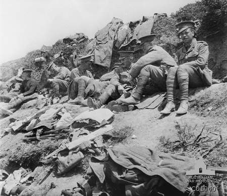 A group of 1st Battalion officers resting. ANZAC 1915