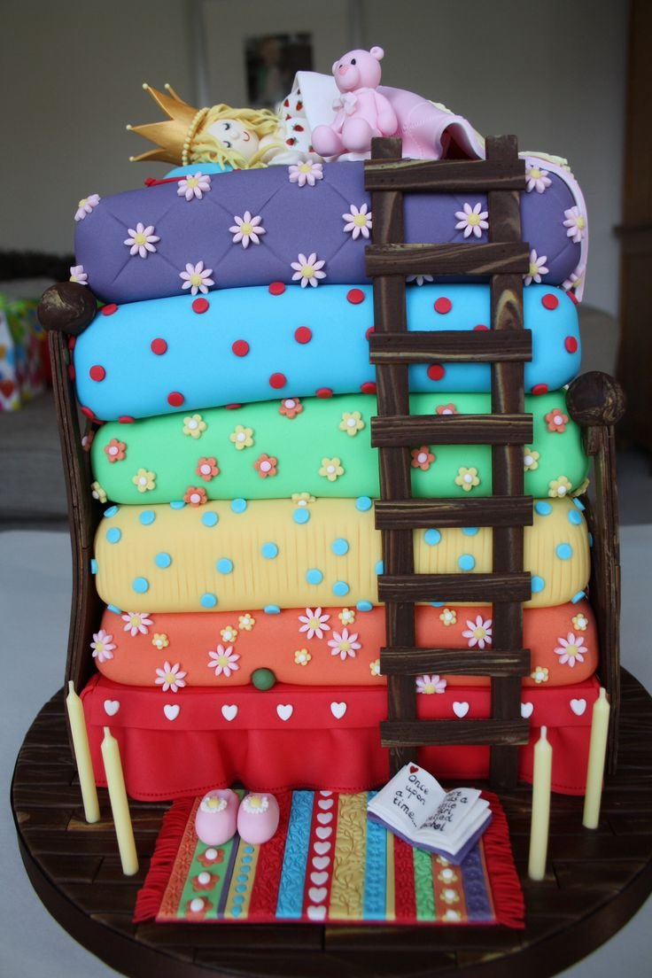 This is the princess and the pea fairy tale cake I made for my daughter's birthday. The mattress decoration was copied from another pinterest cake which I thought was wonderful (copying is apparently the sincerest form of flattery...). The cake toppers, board and bed designs are my own. My little monkey of a daughter did not tell me how great the cake was, she just pointed out that the pea should be hidden underneath the mattresses, not visible.... This one took more than 100 hours to…