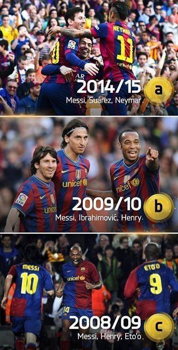 Messi, Suarez, Neymar czy Messi, Henry, Eto'o • Które jest lepsze trio FC Barcelony A, B czy C? • Wejdź i zobacz zdjęcie na FF >>
