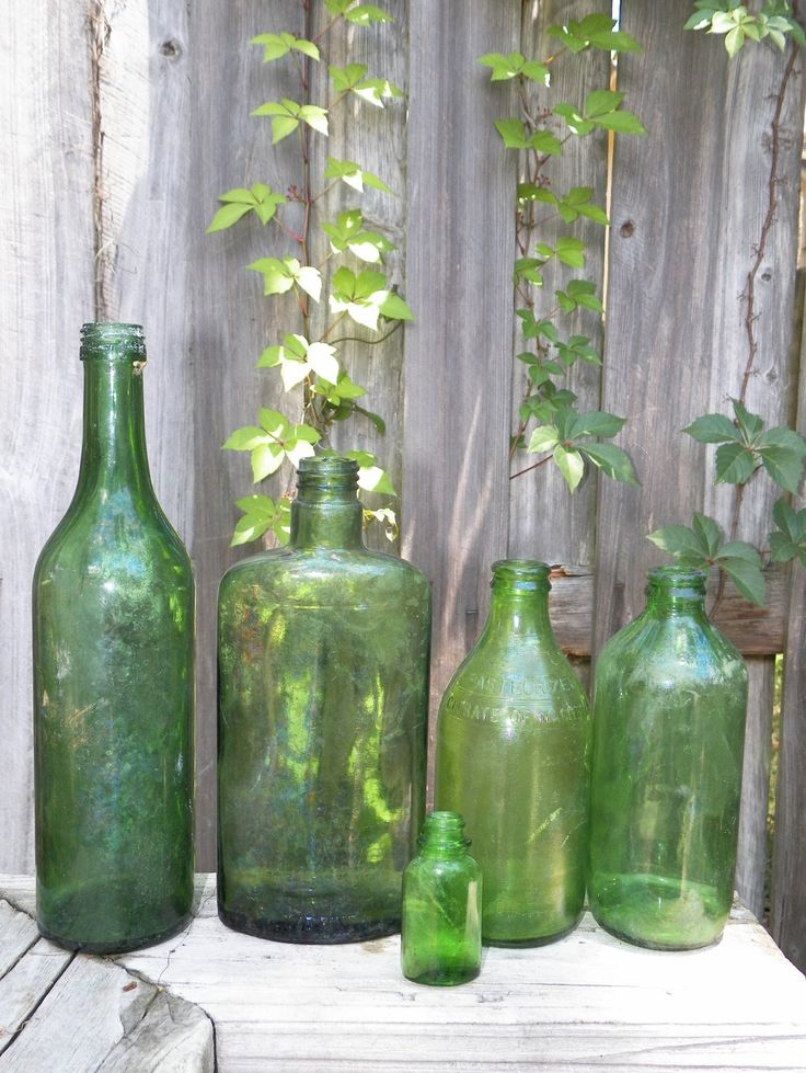 Lot Of Vintage Green Gl Bottles Set 5 Mixed Weathered Nature Made Patina Craft Supply Home Decor