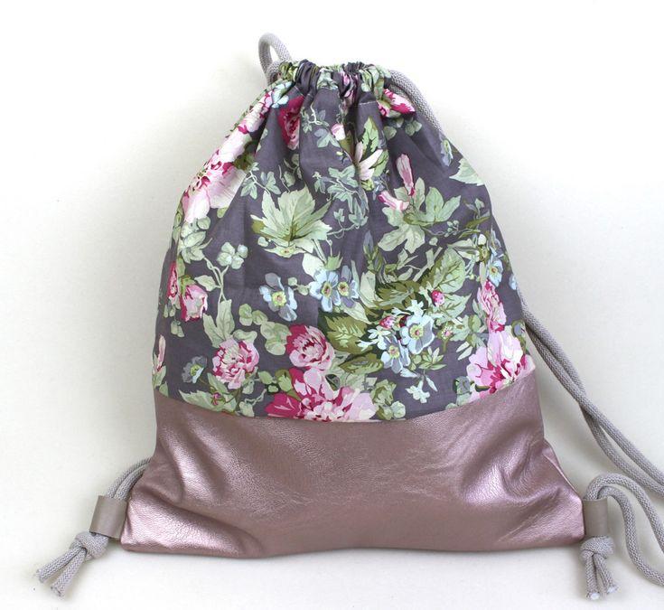 Rucksäcke - Turnbeutel Rucksack Stoffbeutel rosa Frühling - ein Designerstück von lucieandcate bei DaWanda