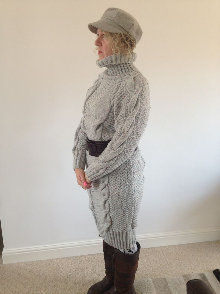 Aran cable dress, VERY warm! Really easy to knit too