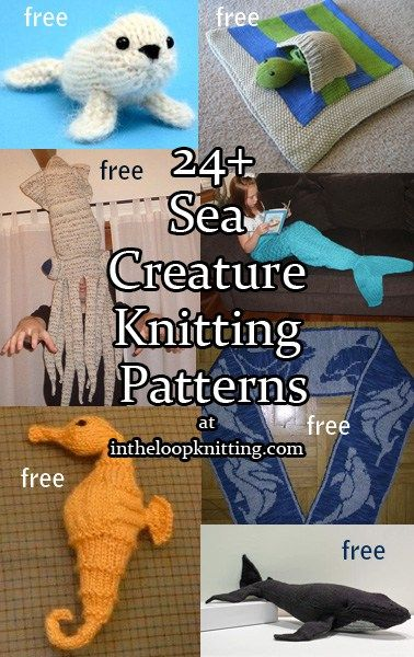 Knitting patterns for Sea Creatures including sharks, whales, dolphins, and more, most are free knitting patterns