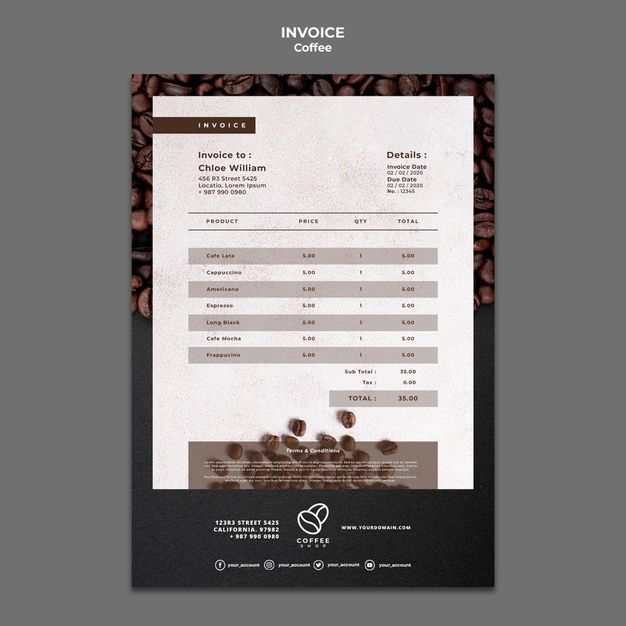 Download Coffee Shop Invoice Template For Free Invoice Template Templates Coffee Shop