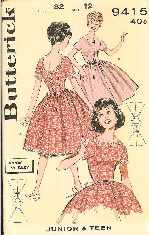 "1950's kitsh vintage ""Gidget"" dress pattern-retro Butterick sewing pattern-UNCut beauty-easy to sew"