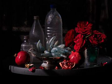 Fiona Pardington Still Life with My Mother's Roses, Pomegranates Plastic Bottles, Ripiro Beach 2013 Inkjet print on Hahnemuhle cotton r...