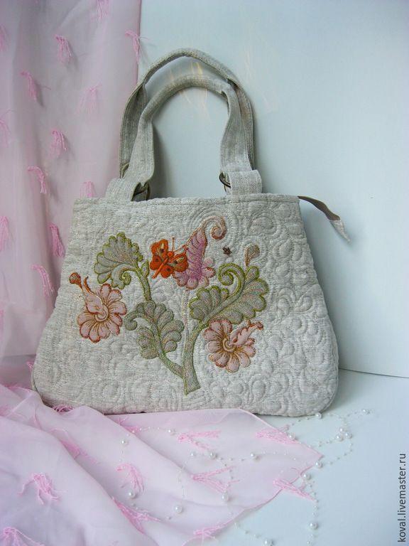 """Купить """"Баттерфляй"""" Льняная сумка - разноцветный, лён, льняная сумка, художественная вышивка, баттерфляй, мотылёк"""