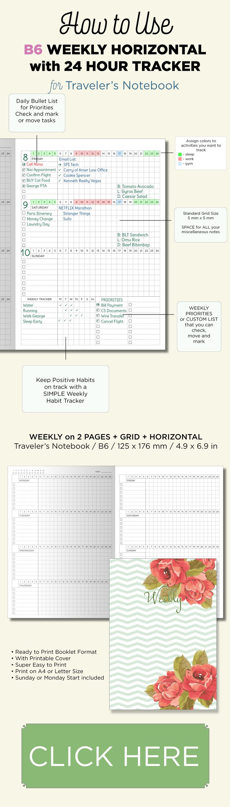 B6 Weekly on 2 Pages Horizontal View - Traveler's Notebook Printable Insert with 24 hour tracker and weekly trackers.