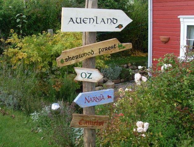 Gartendekoration - 5 märchenhafte Holzschilder für den Garten - ein Designerstück von AlmaWoods bei DaWanda