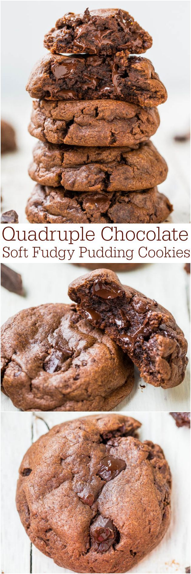 Quadruple Chocolate Soft Fudgy Pudding Cookies - Super soft and loaded with chocolate! AverieCooks.com #desserts #snacks