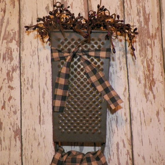 Primitive Kitchen Decor Dishtowel Red Pip Berries Vintage Cheese Grater Towel Holder Stitchery Country Rustic Cabin Lodge Look wvluckygirl