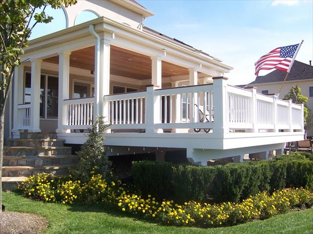 Landscaping Around Tall Deck : Deck landscaping patio landscape around sunroom ideas