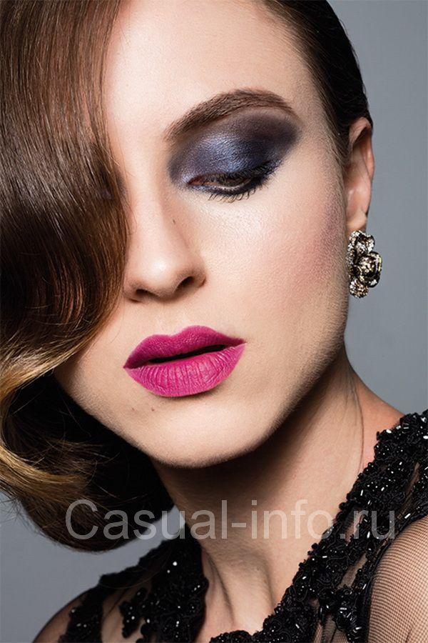 Вечерний макияж синий с черным