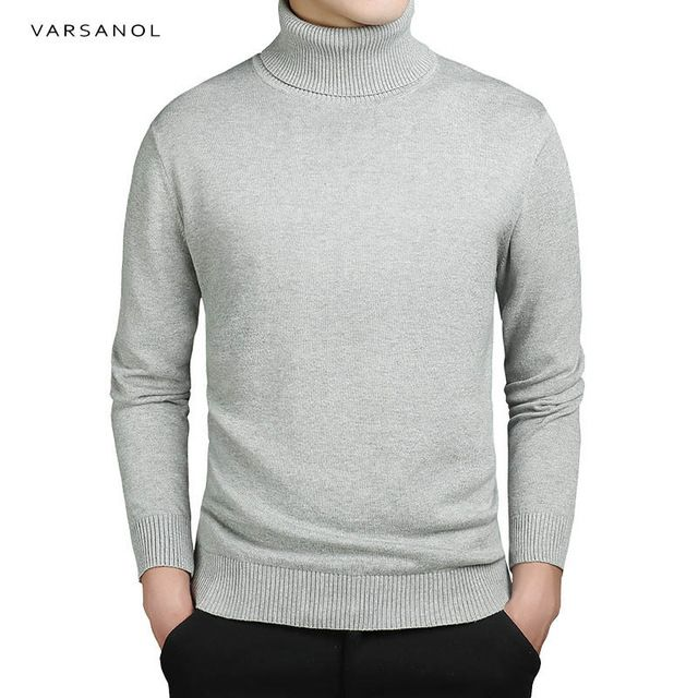Discount Today $15.50, Buy Varsanol Brand New Casual Turtleneck Sweater Men Pullovers Autumn Fashion Style Sweater Solid Slim Fit Knitwear Full Sleeve Coat