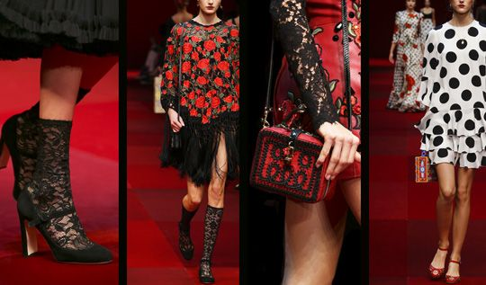 Spring Summer 2015 fashion trends: Dolce&Gabbana embroidered carnation shoes - Swide