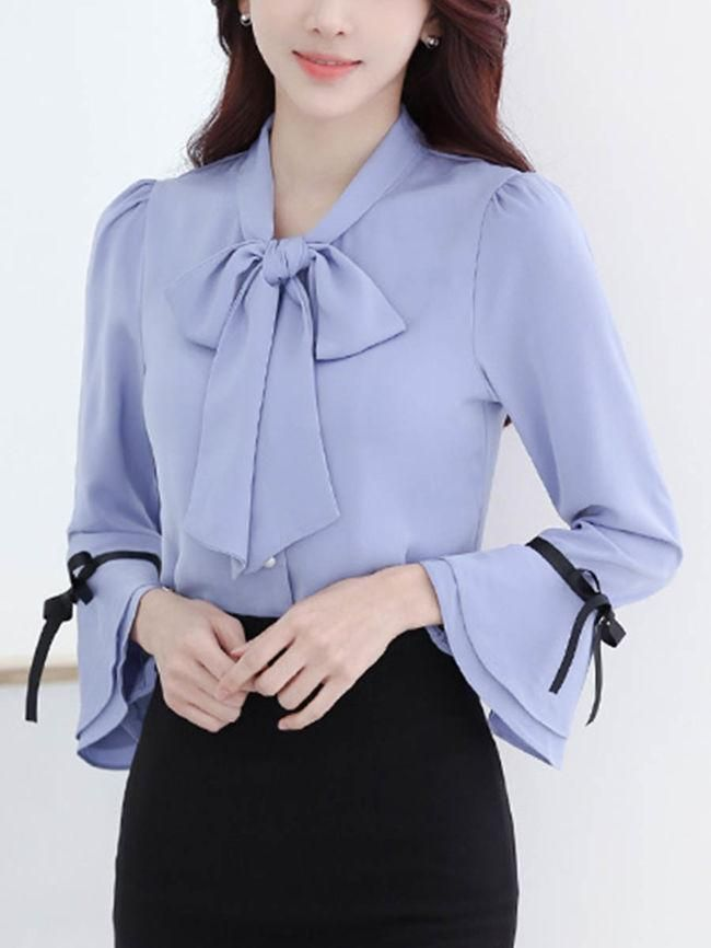 Specifications Product Name: Tie Collar Contrast Bowknot Bell Sleeve Blouse Weight: 160(g) Sleeve: Long Sleeve Occasion: Office Sleeve Type: Bell Sleeve Material: Chiffon Package Included: Top / 1 Collar&neckline: Tie Collar Season: Autumn / Spring Size chart as a reference: Waist Sleeve Length Shoulder Length Bust s Inchcm 3588 2153 1436 2667 3588 m Inchcm 3692 2154 1537 2667 3692 l Inchcm 3896 2255 1538 2768 3896 xl Inchcm 39100 2256 1539 2768 39100 xxl Inchcm 41104 2257 1640 2769 41104…