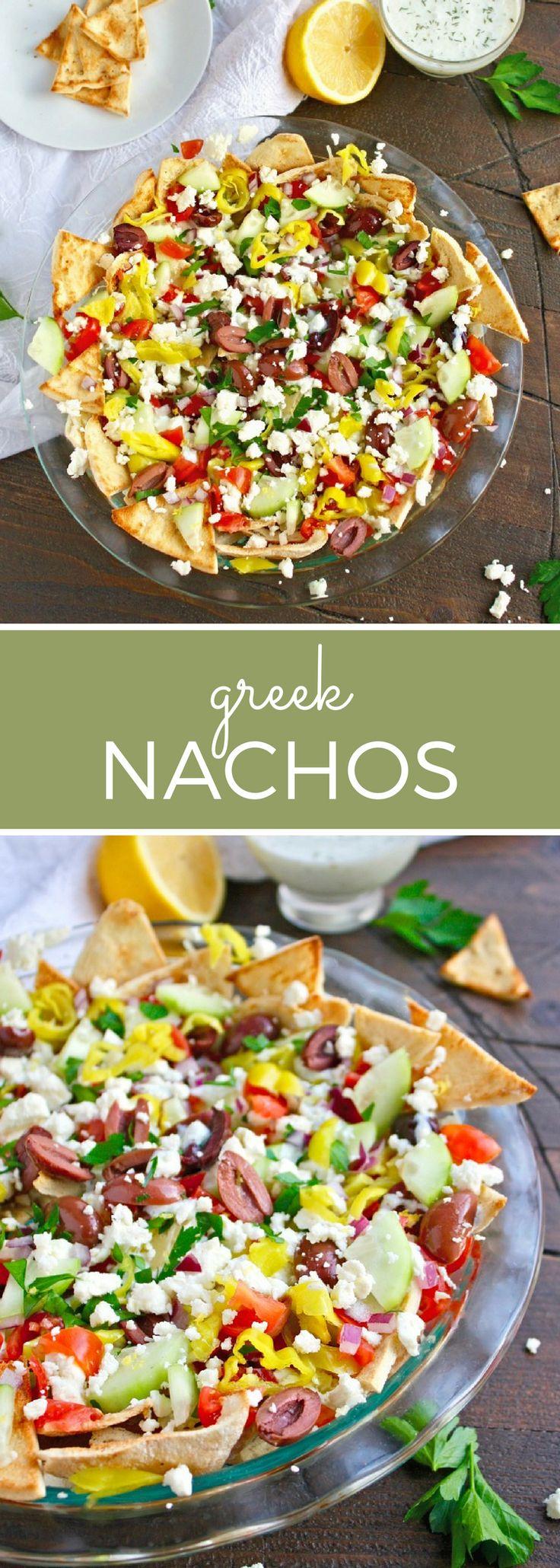 This Greek spin on nachos features crisp pita topped with tzatziki sauce, veggies and feta.