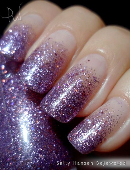 Fading purple glitter nails