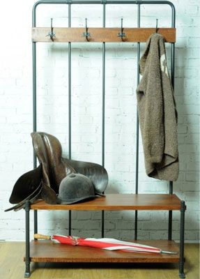 Going old school: Reclaimed Hall Bench and Coat Rack at Rose & Grey