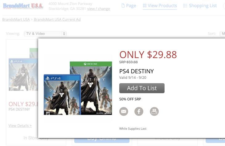 Destiny is currently being sold for half price in the US on both PS4 and Xbox One.