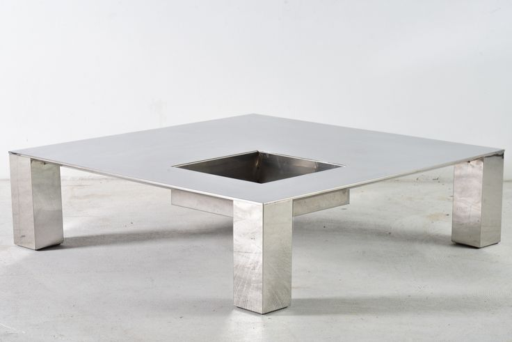 Polished Steel Coffee Table 'Tebe' by Giovanni Offredi for Saporiti - Wall - Greedfineart.com