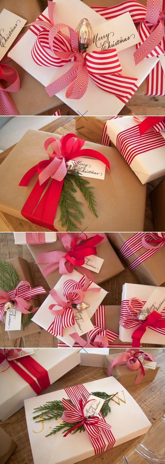 Pretty Packages. Gift Wrap Ideas. Traditional Christmas. Striped Red Ribbons. Mercury Glass Ornament Details. Kraft Paper.