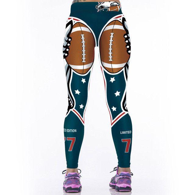 Adventure Time Fitness Women Sporting Uniforms Leggings American NFL Sportswear Bodybuilding Pants 3D Printing Workout Pants