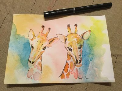 First Watercolor Attempts - mixed media
