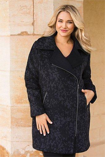 Sara Jacquard Coat. Wool blend, with that so-flattering asymmetric closure, plus sized.