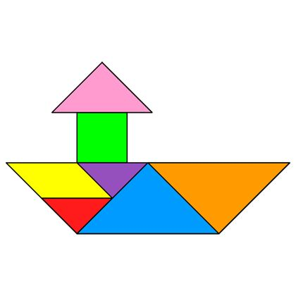 Tangram Tugboat - Tangram solution #82 - Providing teachers and pupils with tangram puzzle activities