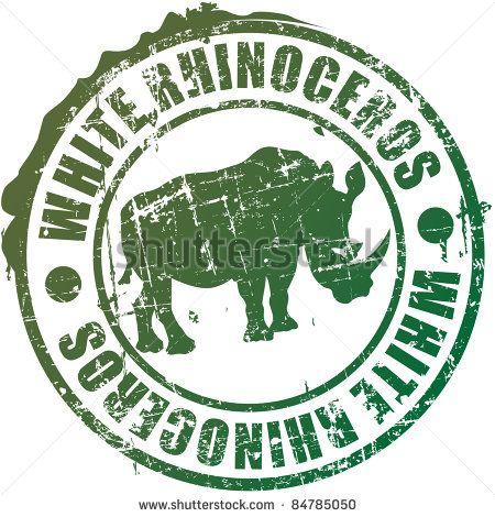 White rhinoceros a stamp