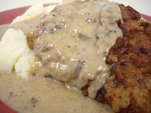 Chicken Fried Steak with Cream GravyCountry Fried Steak And Gravy, Fries Steak, Chicken Fries, Yummy Recipe, Yummy Food, Steak Recipe, Cream Gravy, Chicken Fried Steak With Gravy, Country Fries