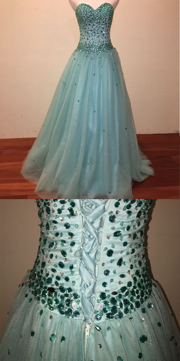 547ee805ca0 Beautiful Mint Tulle Prom Dresses Beadings Sweetheart 2018 Long Prom Gowns  for Party  promdresses  promlong  tulle  beadings  sequins  sparkly  party
