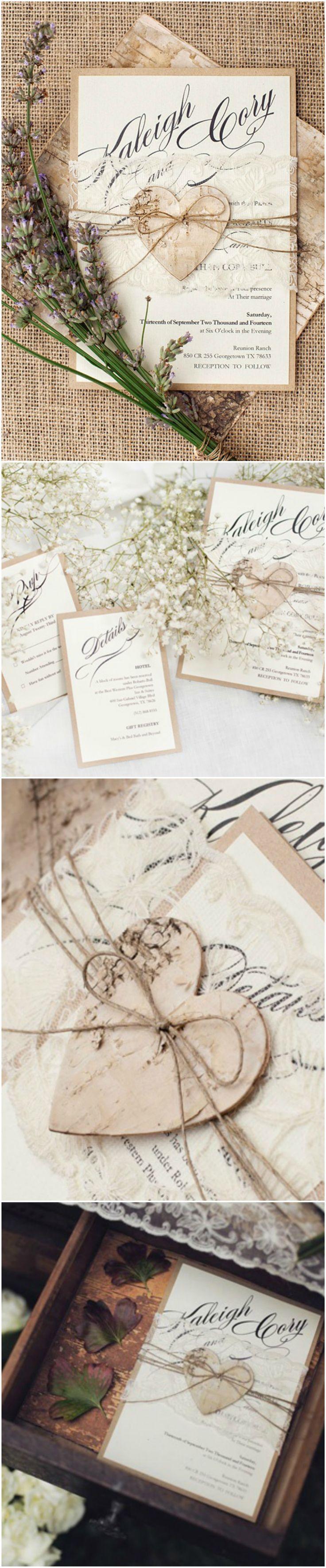 Romantic Rustic Lace Wedding Invitation with wooden birch bark heart tag #romantic #rustic #eco #kraftpaper #weddingideas #weddingplanning #invitations #handmade