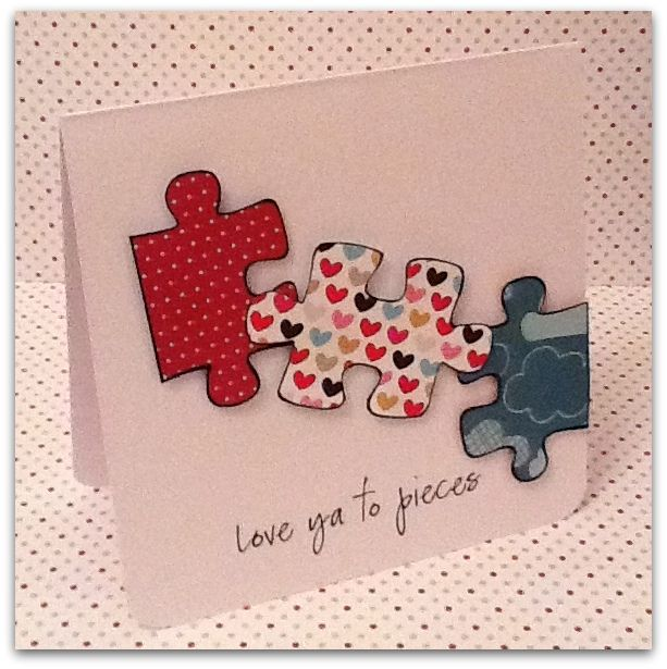 Great way to use scraps!  Trace actual puzzle pieces (or print and cut from internet) onto small pieces of scrap paper to create this simple DIY valentines card.  Stamp, print or write your personal sentiment to your loved one.