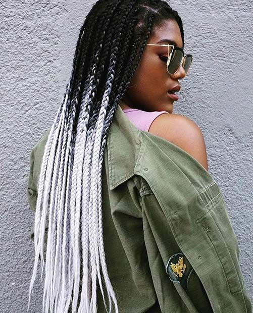 Bold, Black and White Box Braids