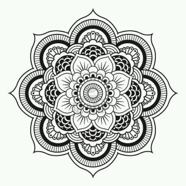 Mandala flor blanco y negro