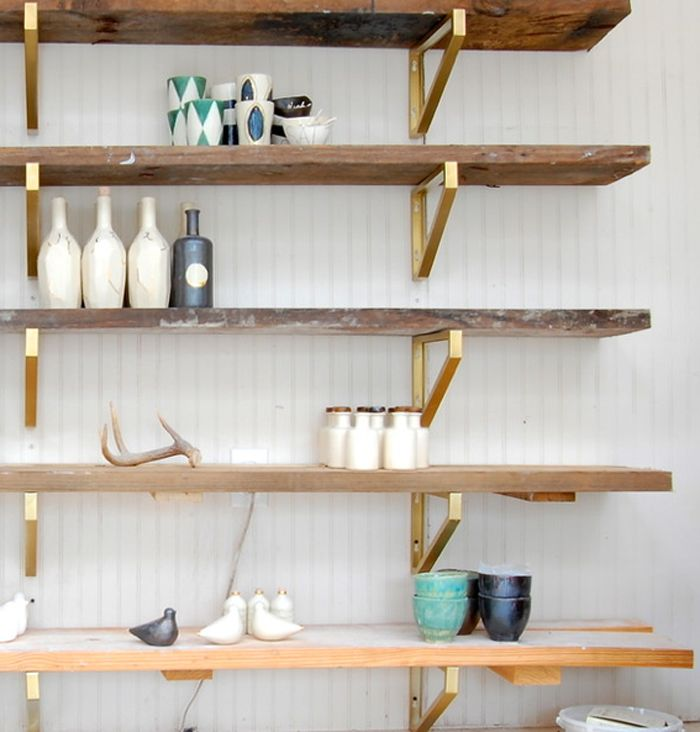 IKEA Hack Idea...reclaimed wood shelves, gold spray paint brackets