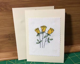 Cross stitch greeting card yellow roses
