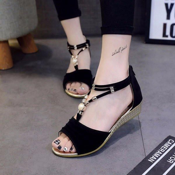 ①Shoe Type: Sandals ②Toe Type:Open Toe ③Closure Type: Zipper ④Heel Type:Platform ⑤Heel Height: 1-3cm ⑥Gender: Female ⑦Occasion: CasualSeason: Summer Autumn ⑧Color: Blue Red Black  ⑨Material: ❶Upper Material: Artificial Leather ❷Outsole Material: Rubber