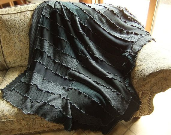 felted sweater blanket throw | Black blanket throw afghan, recycled sweater knits, patchwork quilt