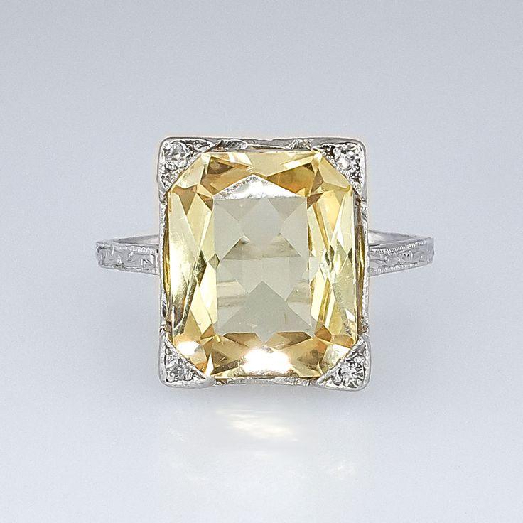 Bright Art Deco 3.73ct Natural Yellow Sapphire & Diamond Filigree Ring 18k | Antique & Estate Jewelry | Jewelry Finds