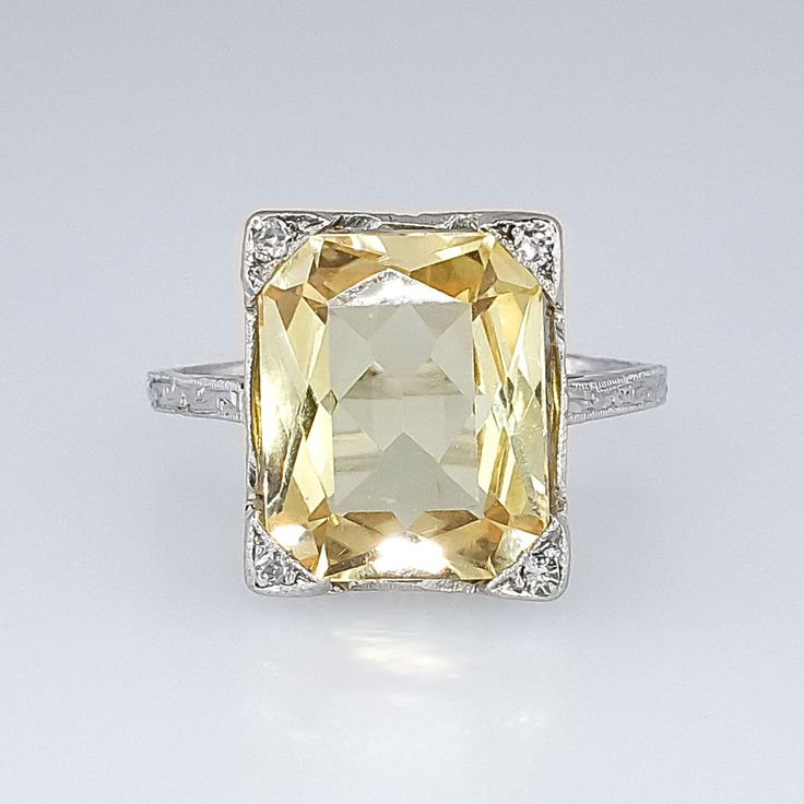 Bright Art Deco 3.73ct Natural Yellow Sapphire & Diamond Filigree Ring 18k | Antique & Estate Jewelry | Jewelry Finds