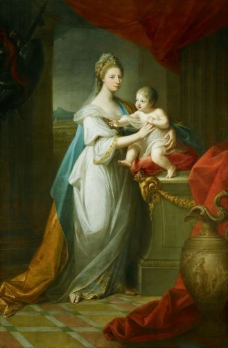 """Augusta, Duchess of Brunswick, with her son"" by Angelica Kauffmann (1767) in the Royal Collection, UK - From the curators' comments: ""This double portrait commemorates the birth of Charles George Augustus (1766-1806), first son of Augusta, Duchess of Brunswick (1737-1813), sister of George III."" Also mother of Princess Caroline of Brunswick, later wife of her 1st cousin, George IV."
