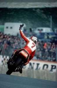 "The amazing and so missed Barry Sheene! This is an ""iconic"" picture of him!"