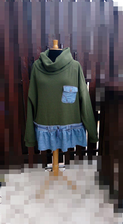 2X 3X Boho Green  - Jeans  Fleece Tunic -  Women's Upcycled clothing - Fleece -Up Cycled Outdoor Tunic-Up Cycled Outerwear by SwiezaKoszula on Etsy