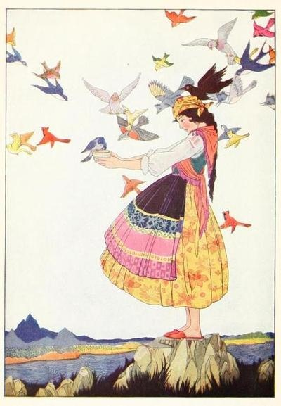 Tales of Enchantment from Spain  Illustrations by Maud and Miska Petersham    The birds of all the world came flying up to her, and each deposited a tear in the cup.